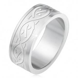 Oceľový prsteň, matný gravírovaný pás s keltským motívom BB2.19 - Veľkosť: 55 mm