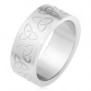 Oceľový prsteň s gravírovanými keltskými symbolmi, Triquetra BB2.9 - Veľkosť: 55 mm