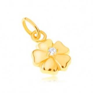 Prívesok zo žltého 14K zlata - ligotavý päťlupeňový kvet s kamienkom GG22.11