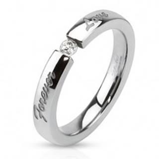 Prsteň z chirurgickej ocele, číry zirkón, gravírovaný nápis Forever love - Veľkosť: 49 mm