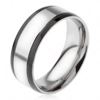 Prsteň z ocele 316L, strieborná farba, s čiernymi okrajovými pásmi BB16.03 - Veľkosť: 56 mm