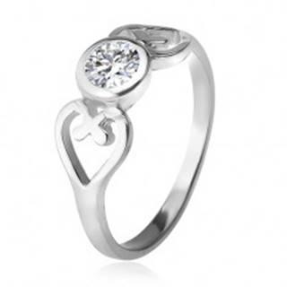 Strieborný prsteň, obrysy sŕdc, číry okrúhly zirkón v objímke, striebro 925 J12.6 - Veľkosť: 49 mm