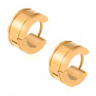 Zlaté náušnice z ocele, lesklé kruhy, žliabky pri okrajoch