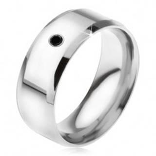 Zrkadlovolesklý prsteň z ocele 316L, čierny kamienok BB16.02 - Veľkosť: 56 mm