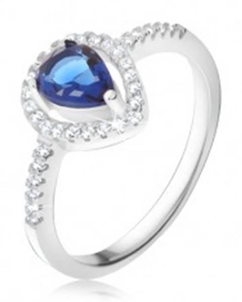Prsteň - tmavomodrý slzičkový kameň, číre zirkóny, striebro 925 K4.16 - Veľkosť: 49 mm