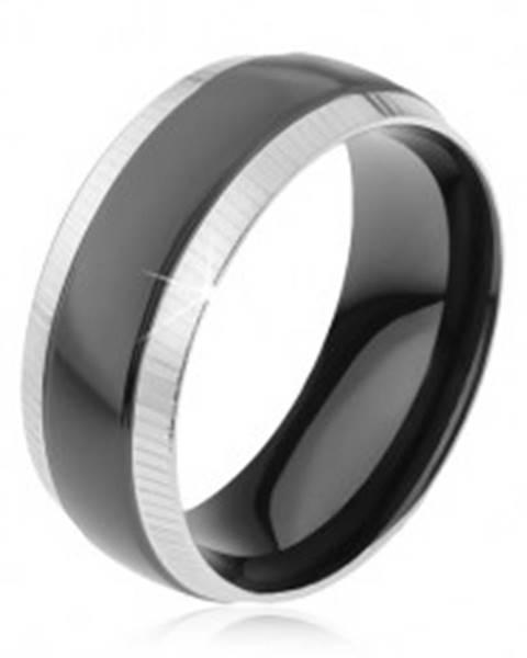 Prsteň z ocele 316L, ryhované okrajové pásy, lesklý čierny pruh K3.14 - Veľkosť: 57 mm