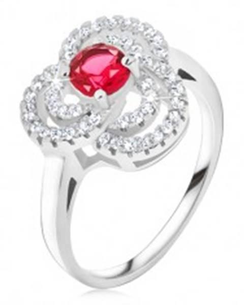 Prsteň zo striebra 925, zirkónový trojlístok, okrúhly červený kameň BB16.04 - Veľkosť: 49 mm