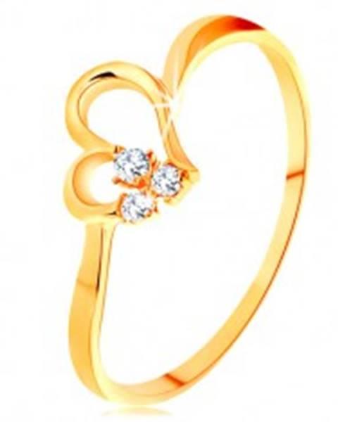 Prsteň zo žltého 14K zlata - kontúra nesúmerného srdiečka, číre zirkóny - Veľkosť: 49 mm