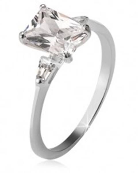 Strieborný prsteň 925, obdĺžnikový a dva trojuholníkové kamienky U6.10 - Veľkosť: 49 mm