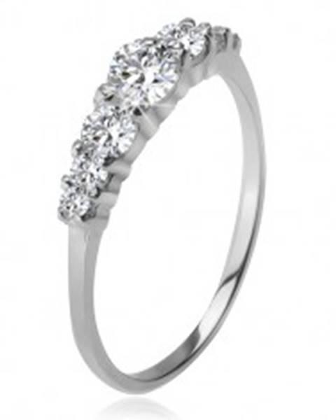 Strieborný prsteň 925, väčší a menšie číre zirkóny v kotlíkoch K4.7 - Veľkosť: 48 mm