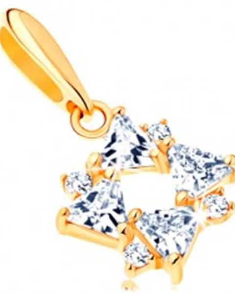 Zlatý prívesok 585 - číre zirkónové trojuholníky a drobné okrúhle zirkóniky