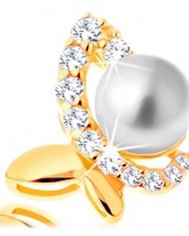Prívesok v žltom 14K zlate - nesúmerný motýľ so zirkónovou polovicou a perlou