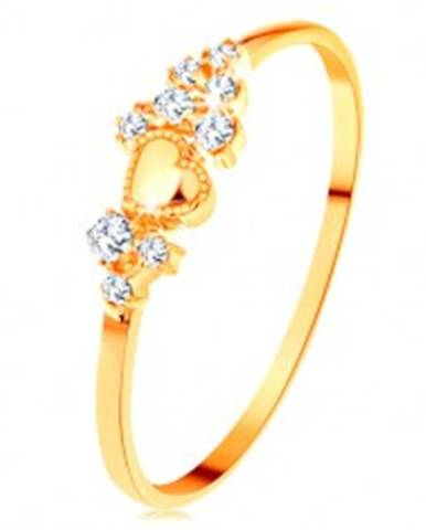 Prsteň v žltom 14K zlate - drobné číre zirkóny a lesklé vypuklé srdiečko GG154.50/56 - Veľkosť: 49 mm