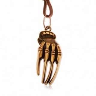 Hnedý náhrdelník z umelej kože, patinovaná ruka kostry mosadznej farby