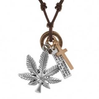 Náhrdelník - šnúrka z umelej kože s príveskami, list konope, kríž, známka a obruče