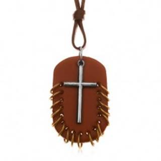 Náhrdelník zo syntetickej kože, prívesky - ovál hnedej farby s krúžkami a kríž