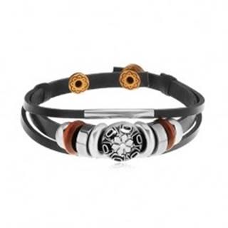 Náramok z čiernych kožených pásov s korálkami z kovu a dreva, kruh s kvetom Y36.16