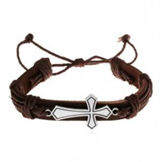 Náramok z tmavohnedej umelej kože a šnúrok, veľký lesklý kríž, patina Y34.14