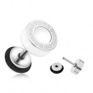 Oceľový fake plug do ucha, biely glazúrovaný kruh, grécky kľúč, 8 mm