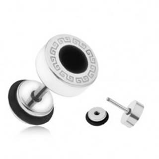 Oceľový fake plug do ucha, grécky kľúč, čierny glazúrovaný kruh, 8 mm
