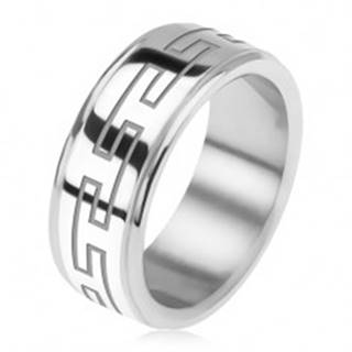 Oceľový prsteň, zrkadlovo lesklý, znížené okraje, grécky kľúč - Veľkosť: 56 mm