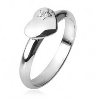 Prsteň s vypuklým súmerným srdcom, hviezda, zirkón, zo striebra 925 BB15.11 - Veľkosť: 49 mm