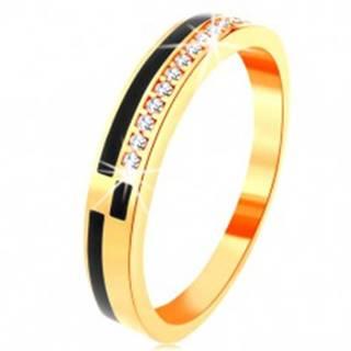Prsteň v žltom 14K zlate - pásy z čiernej glazúry, línia zirkónikov čírej farby - Veľkosť: 49 mm