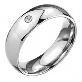 Prsteň z ocele 316L, lesklý oblý povrch, číry brúsený kamienok - Veľkosť: 49 mm