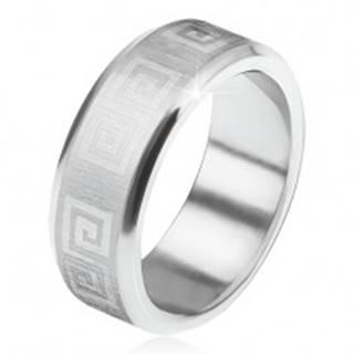 Prsteň z ocele 316L, skosené okraje, saténový pás s gréckym kľúčom BB9.11 - Veľkosť: 56 mm