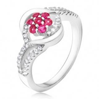 Prsteň zo striebra 925, ružový zirkónový kvet, pery K6.1 - Veľkosť: 49 mm