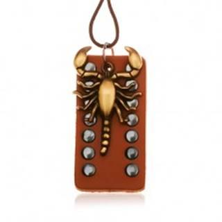 Tmavohnedý náhrdelník zo syntetickej kože, vybíjaná známka, škorpión