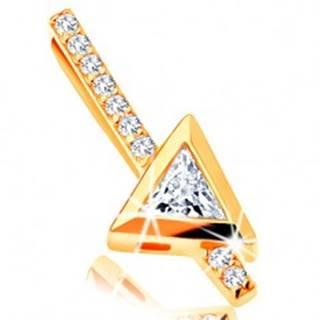 Zlatý prívesok 585 - rovná zirkónová palička, číry trojuholníkový zirkón