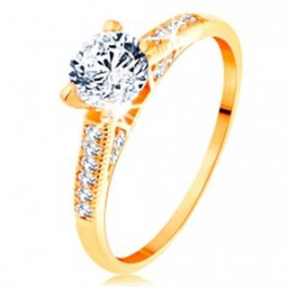 Zlatý prsteň 585 - trblietavé ramená, vyvýšený okrúhly zirkón čírej farby - Veľkosť: 50 mm
