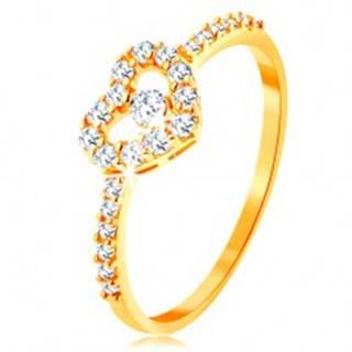 Zlatý prsteň 585 - zirkónové ramená, ligotavý číry obrys srdca so zirkónom - Veľkosť: 49 mm