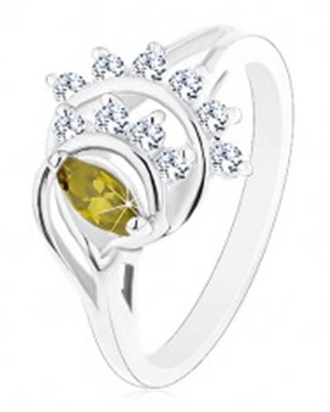 Lesklý prsteň, oblúky lemované líniami čírych zirkónikov, zelené zrnko - Veľkosť: 49 mm