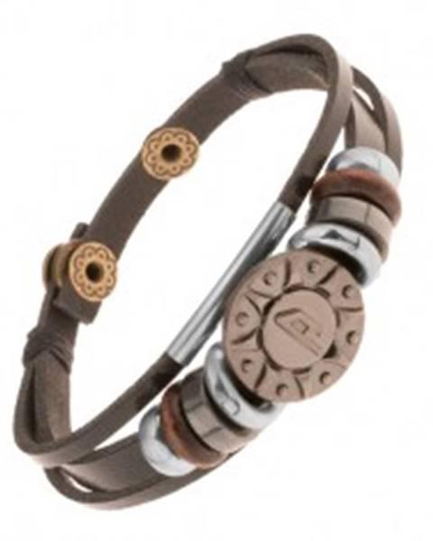 Nastaviteľný kožený náramok z troch pásov, korálky, oceľové slnko Y45.19
