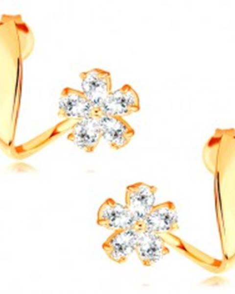 Náušnice zo žltého 14K zlata - zvlnená stuha, ligotavý zirkónový kvet