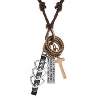 Náhrdelník s príveskami - čierny pás so srdiečkami a zirkónmi, kríž, známka, obruče