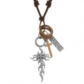 Náhrdelník - šnúrka z umelej kože, veľký a malý kríž, známka, obruče