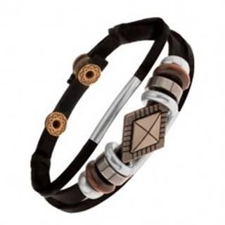 Náramok z čiernych kožených pásov s korálkami z kovu a dreva, kosoštvorec
