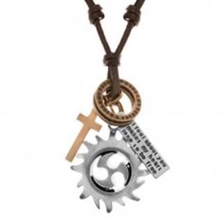 Nastaviteľný kožený náhrdelník, prívesky - kruh tribal, obruče, kríž a známka