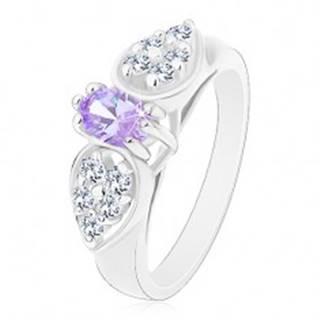 Prsteň v striebornom odtieni, ligotavá mašlička so svetlofialovým oválom - Veľkosť: 52 mm