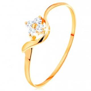 Prsteň zo žltého 14K zlata - číry zirkónový kvietok, zvlnené rameno GG157.39/45 - Veľkosť: 49 mm