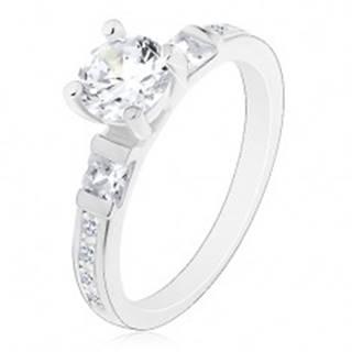 Zásnubný prsteň, striebro 925, veľký okrúhly zirkón, trblietavé ramená J13.18 - Veľkosť: 49 mm