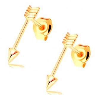 Zlaté náušnice 585 s puzetovým zapínaním - lesklé tenké šípy