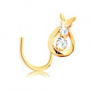 Zlatý piercing 585, zahnutý - kvapka s čírymi zirkónmi a motýlik