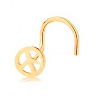 Zlatý piercing 585, zahnutý - okrúhly symbol mieru, lesklý povrch