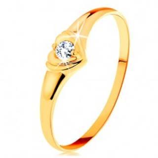 Zlatý prsteň 585 - ligotavé srdiečko so vsadeným okrúhlym zirkónom GG157.32/38 - Veľkosť: 50 mm