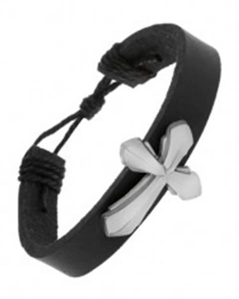 Čierny náramok zo syntetickej kože, dvojitý kríž s matným vypuklým povrchom