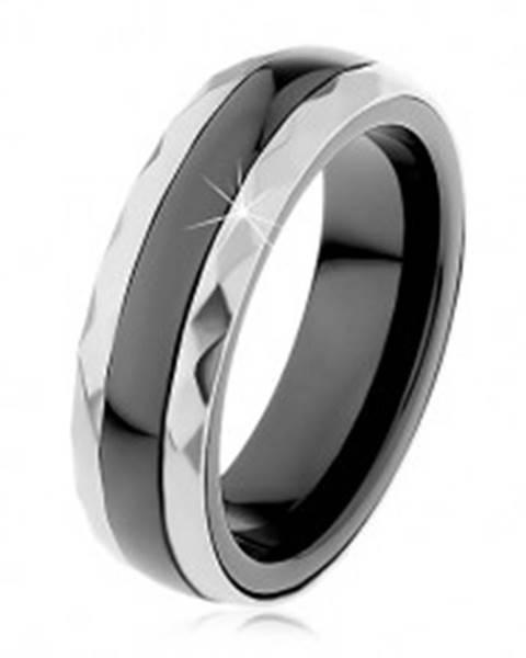 acd1212fc Keramický prsteň čiernej farby, brúsené oceľové pásy v striebornom odtieni  H1.7 - Veľkosť